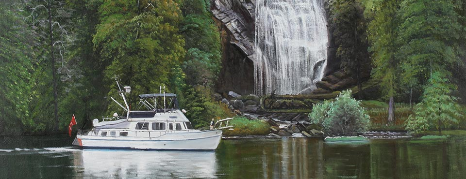 Portrait of a boat and waterfall