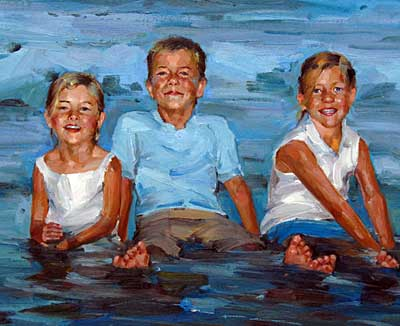 Kids in Water - Impressionist
